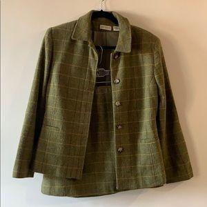 VINTAGE ANN TAYLOR 90s plaid skirt suit set